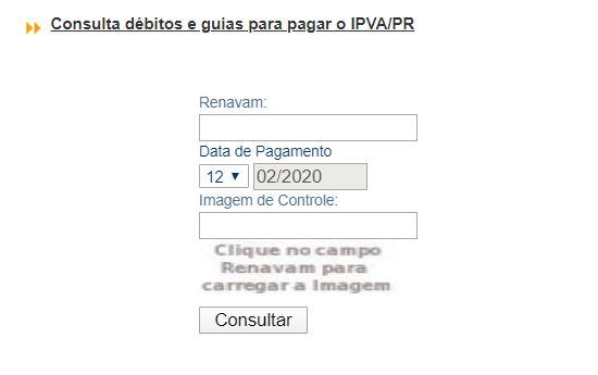 Tela da consulta do Valor do IPVA no portal do Detran PR