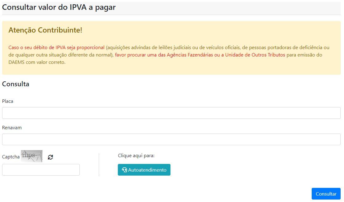 Consulta IPVA Mato Grosso do Sul